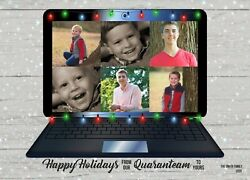 Holiday Christmas Personalized Photo Card 2020 Pandemic Quaranteam Zoom Call