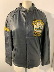 Rare Vintage Stanleigh Mine Canada Leather Ice Hockey Jacket Size S