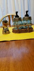 New Farmhouse Blue Ball Collector Jar 8oz Lotion And Soap W/ Dinner Bell Vintag