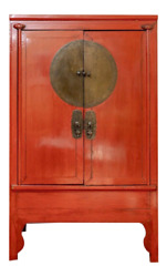 19th Century Antique Chinese Red Lacquered Ming Style Wedding Cabinet