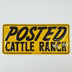 Vtg Posted Cattle Ranch Tin Sign 1960s New Old Stock Green Back Frank And Edwards