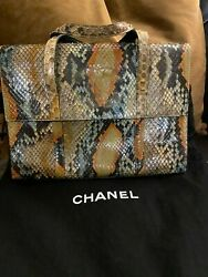 Rare And0391997-1999 Multi Color Snakeskin And Leather Flap Bag