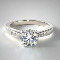 Solid 14k White Gold 0.67 Carat Round Real Diamond Engagement Rings Size 5 6 7 8