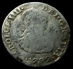 1792 1/2 Silver Real Charles Iv Mexico Mint - 40 Mm / 26.99 Gr.