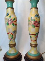2 Vintage Porcelain Chinese Hand Painted Table Lamps Made In Macau C1