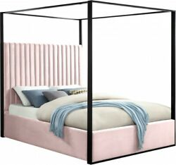 Velvet Fabric Canopy Bed Contemporary Bedroom Furniture Pink 1pc King Size Bed