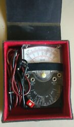 Triplett Model 310 Type Portable Compact Analog Multimeter With Case And Leads