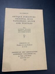 1930 Auction Catalog Antique Furniture Oriental Rugs Tapestries Silver And Textile