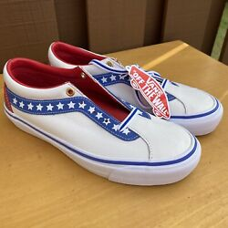 Sk8 Low Leather Skate Shoes Evil Knievel True White Racing Red American 7.5