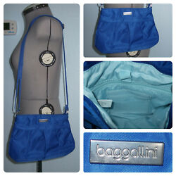 Baggallini Pleated Small Blue Crossbody Purse Tote Mini Handbag Nylon Silver Bag $25.89
