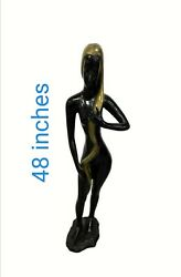 Modern Bronze Sculpture Depicting Nude Female Form By Surawongse Thailand 48and039and039