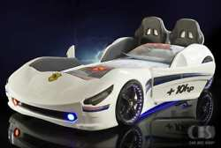 3ft Childrens White Cabrio Race Car Bed- Leather Interior-led Lights And Bluetooth