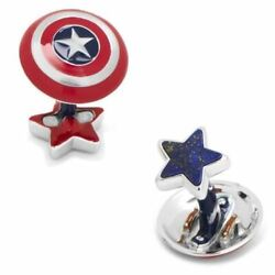 Luxe Captain America Shield Cufflinks With Lapis