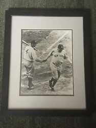 """Vintage New York Mets Picture In Brown Frame. Black And White Photo 22x18"""""""