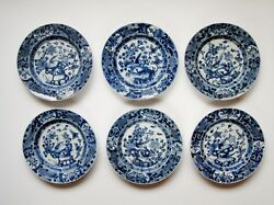 6 Antique Chinese Porcelain Qing Long Chand039 Ien Lung Blue And White Dishes...