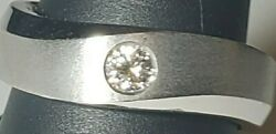 18k Solid Gold Heavy14.5g Modern Diamond Wedding Band Pinky Ring Comfort Fit 7mm