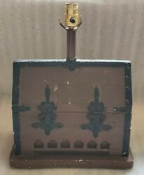 Vintage Pottery Treasure Chest Table Lamp King Pirate Booty 3-way Switch Works