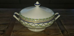 Federal 11.5 In. China Oval Covered Dish Made In France Blue Gold Green