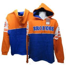 New Denver Broncos Mens Sizes M-l-xl-2xl Mitchell And Ness Hoodie 80