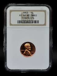 1953 Ngc Pf66rd Cameo Lincoln Wheat Cent [110dud]