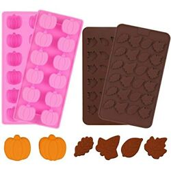 4 Pieces 3d Mini Silicone Molds Halloween Pumpkin Candy Thanksgiving Leaf Shaped