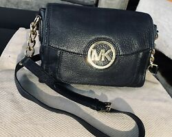 MICHAEL KORS BLACK SATCHEL PEBBLE LEATHER CROSSBODY BRASS LOGO BAG excellent $58.99