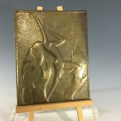 Deco Nude Fire Dancer Plaque Hagenauer Type Brass Repousee