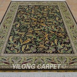 Yilong 5and039x7.5and039 Green All Over Handknotted Silk Area Rug Leaf Pattern Carpet 0800