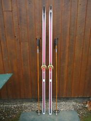 Great Ready To Use Cross Country 79 Dynastar 205 Cm Snow Skis + Poles