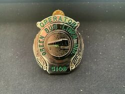 Old Obsolete Defunct Ny Nyc Operator Green Bus Lines Inc. Driver Hat Badge 5108