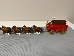 Lego Custom Budweiser 8 Clydesdale Horses / Beer Wagon Barrels Moves And Works
