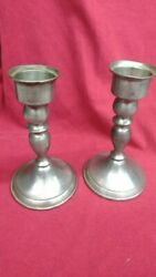 Pair of Vintage Pewter Candlestick Holders Leonard#x27;s $16.00