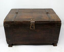 Antique Wooden Hand Carved Multi Utilize Merchant Box Money Box With Iron Lock