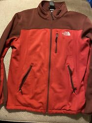 The North Face Fleece Men's Jacket Flashdry Size Medium Red Gray Zip Up EUC $28.00