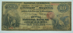1865 Troy Ny 10 Ten Dollar Bill National Currency Contemporary Counterfeit