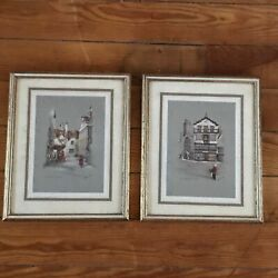 Vintage Pair Of Clyde Cole Signed Colored Swiss Scenes Under Glass In Gilt And