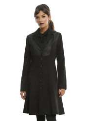 Harry Potter Deathly Hallows Girls Black Hooded Trench Coat Licensed Size 2xl