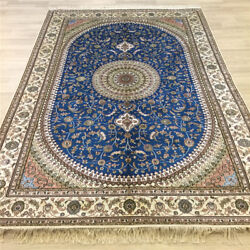 Yilong 6'x9' Handknotted Silk Carpet Blue Home Interior Antistatic Rug Y061c
