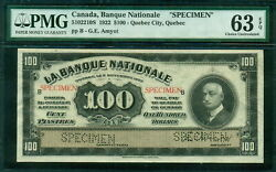 Canada 1922 Specimen Set Of 5, Incl. 5, 10, 20, 50 And 100 Pmg 40-64