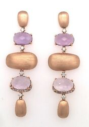 Amethyst And Diamonds Earrings - Rose Gold 18kt