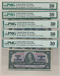 Canada Lot Of 5 Osborne-towers 10 Dollars 1937 Bc-24a - Pmg 30 Very Fine