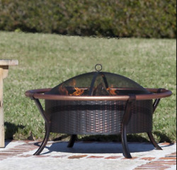 Wood Burning Fire Pit Bowl Rustic Round Steel Outdoor Patio Poker Cover Copper