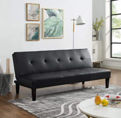 Futon Sofa Flat Bed Couch Dorm Furniture Black Leather Apt Armless Reclining New