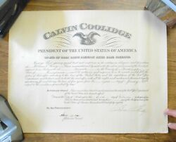 Set Of Signed Calvin Coolidge And Postmaster Documents Orig Mailing Tube Date 1928