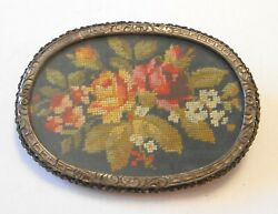 Antique Petit Point Flowers 800 Silver Frame Brooch Austro Hungarian Empire Mark