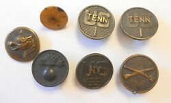 7 Ww1 Collar Disc And Buttons Flaming Bomb Infantry Us New York 69th Tennessee 1st