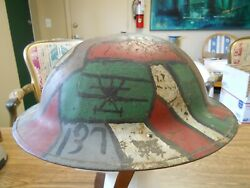 Ww1 Us Air Service Aef 137th Camo And Planes Painted Helmet And Liner Double Marked