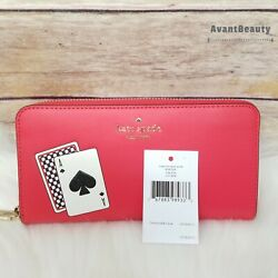 239 Nwt Kate Spade Lucky Draw Playing Cards Large Continental Wallet Wlr00291