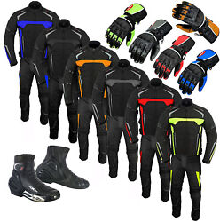 2piece Motorbike Motorcycle Textile Suit Jacket Trousers Waterproof Boots Gloves