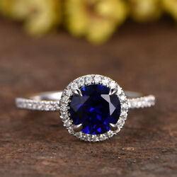 2.70 Carat Round Real Diamond Blue Sapphire Ring 14k Solid White Gold Size 6 7 8